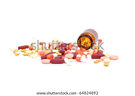 Jar with tablets - stock photo
