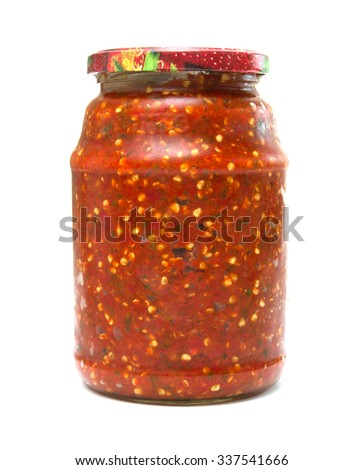 jar with tomato on a white background