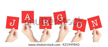 Jargon written on cards held by hands