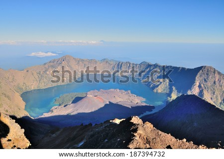 Jari Baru Mount from the top of Mount of Rinjani, Lombok, Indonesia. - stock photo