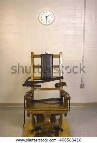 JARRATT, VIRGINIA, USA - APRIL 1995: Death penalty electric chair at Greensville Correctional Center. - stock photo