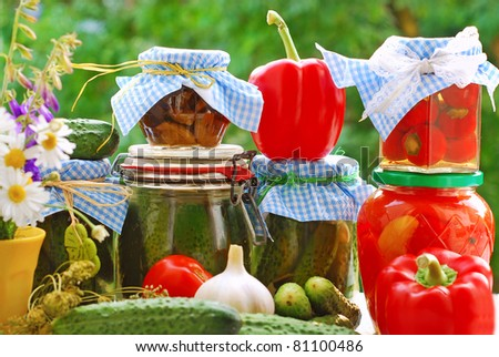 jars of various homemade vegetable preserves on the table in the garden - stock photo