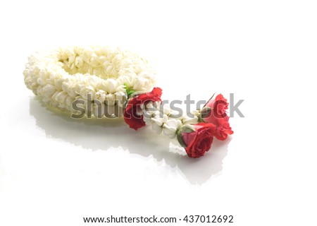 Jasmine garland, steering wheel of jasmine flower, symbol of Mother's day in thailand, to offer the monk or buddha - stock photo