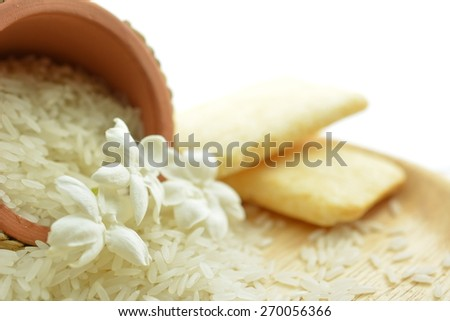 Jasmine Rice from Thailand or Thai fragrant rice, is a long-grain variety of rice that has a sweet aromatic fragrance. Can be made confectionery. - stock photo