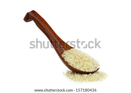 Jasmine rice in Wood spoon on White background