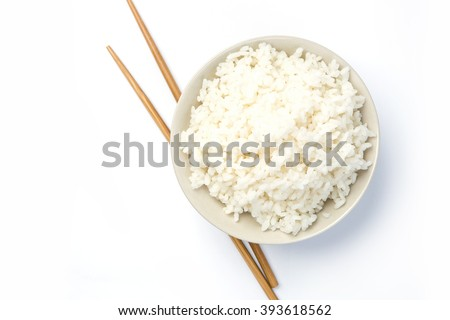 Jasmine rice with chopsticks  isolated on a white background with shadow - stock photo