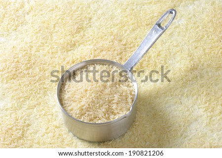 jasmine rice with measured portion for whole family - stock photo