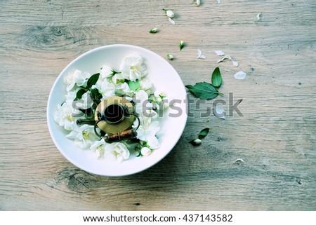 Jasmine tea ,popular product of organic farming - stock photo