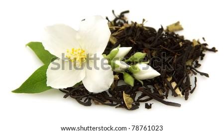 jasmine tea with fresh jasmine flowers - stock photo