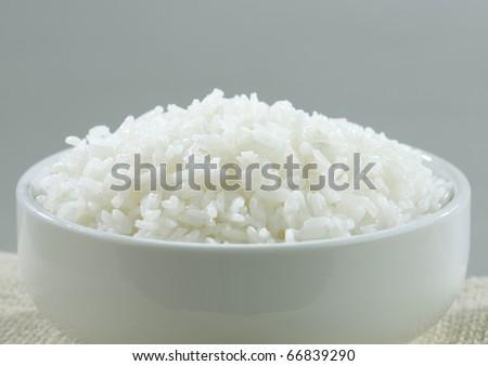 Jasmine Thai rice isolated in a rice bowl  - stock photo