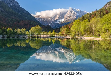 Jasna lake with beautiful reflections of the mountains