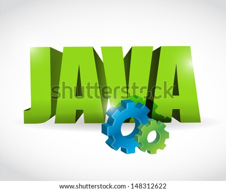 java gear text sign illustration design over a white background - stock photo