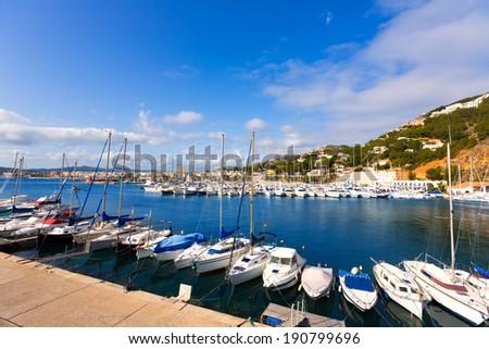 Javea Xabia marina Club Nautico in Alicante Mediterranean of spain - stock photo