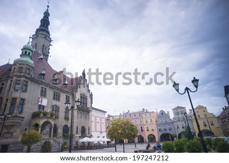 Jawor, Poland: OCT 28: The buildings and architecture in a historic small town in Jawor, Poland on October 28, 2013. It houses the famous Protestant Church of Peace, named under UNESCO heritage site.