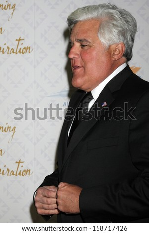 Jay Leno at the 10th Alfred Mann Foundation Gala, Robinson-May Lot, Beverly Hills, CA 10-13-13 - stock photo