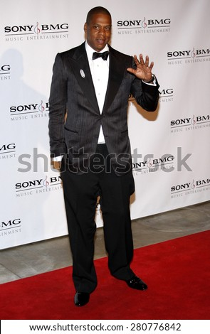 Jay-Z at the 2008 Sony/BMG Grammy After Party held at the Beverly Hills Hotel in Beverly Hills on February 10, 2008.  - stock photo