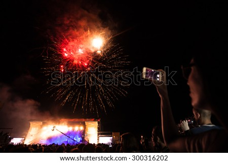 JAZ, MONTENEGRO - JULY 15 2015: Official opening with fireworks at the Main Stage of the SEA DANCE Music Festival - EXIT ADVENTURE, on July 15, 2015 at the Jaz beach near Budva, Montenegro. - stock photo