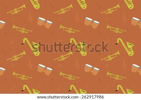 Jazz music instruments seamless pattern. Saxophone, bongos, trumpet, notes.Raster - stock photo