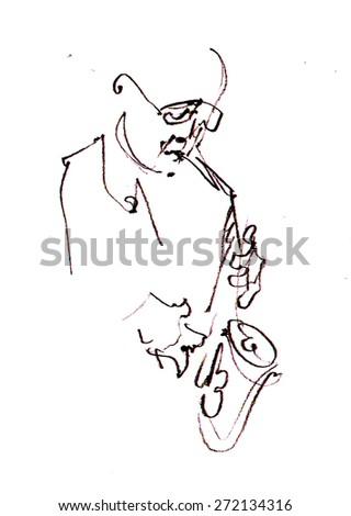 Jazz musicians playing music - stock photo