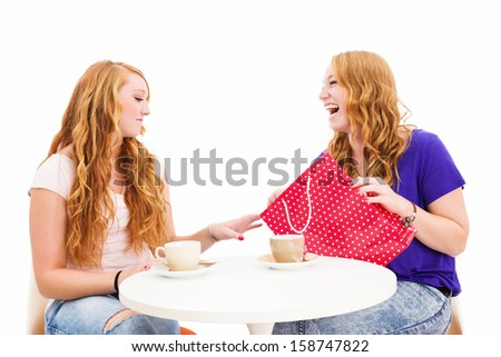 jealous woman looking at the shopping bag of her happy friend on white background - stock photo