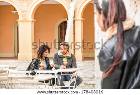 Jealous woman stalking couple of Lovers - stock photo