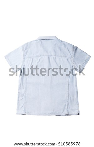 jean shirt detail fabric clothes isolation on white background