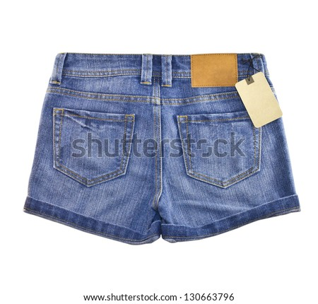Jean short pants isolate white background - stock photo