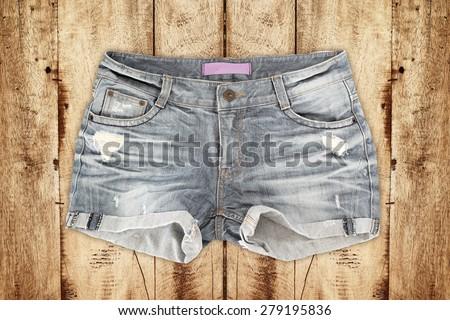 jean shorts - stock photo