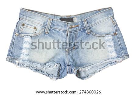 Jean shorts isolated - stock photo