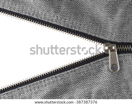 Jean zipper.Close up jean zipper.reveal a secret. zipper isolated on white background with clipping path - stock photo