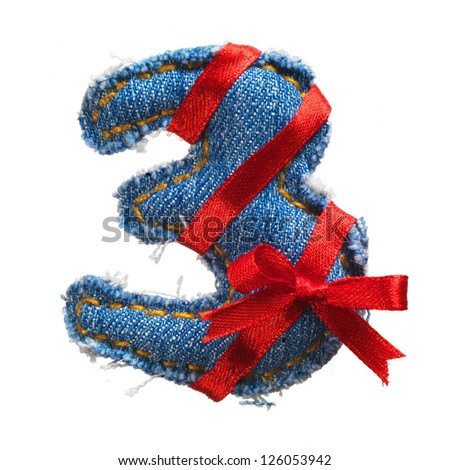 Jeans alphabet digit with holiday red ribbon isolated on white - stock photo