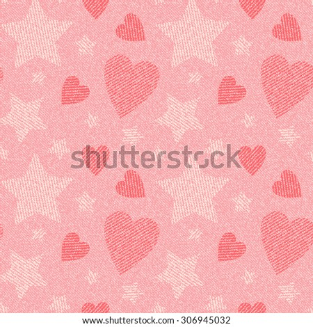 Jeans background with hearts and stars. Denim seamless pattern. Pink jeans cloth.