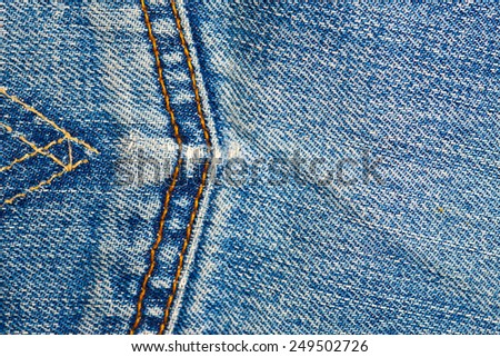 jeans background with seams - stock photo