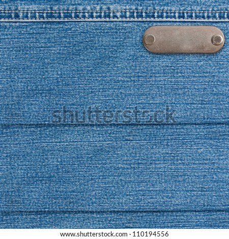 Jeans blue background fabric with a seam - stock photo
