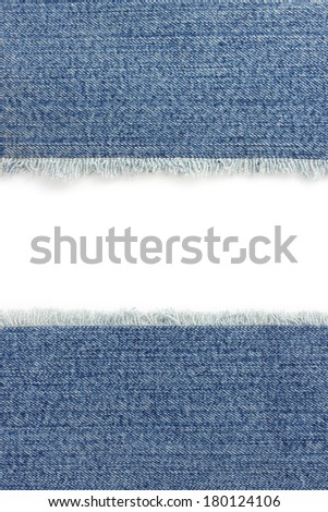 jeans blue texture on white background - stock photo