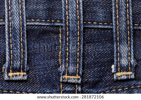 Jeans close-up of texture seam loops - stock photo