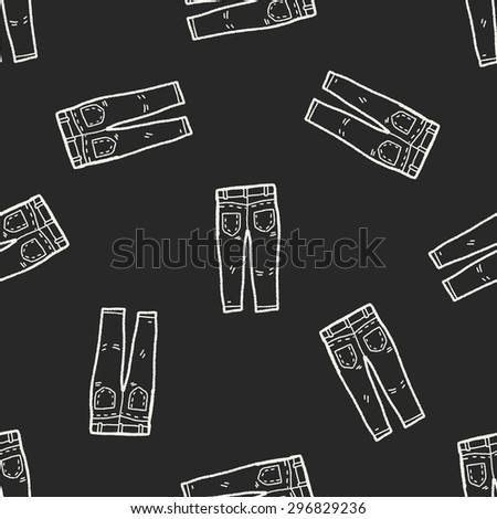 jeans doodle seamless pattern background