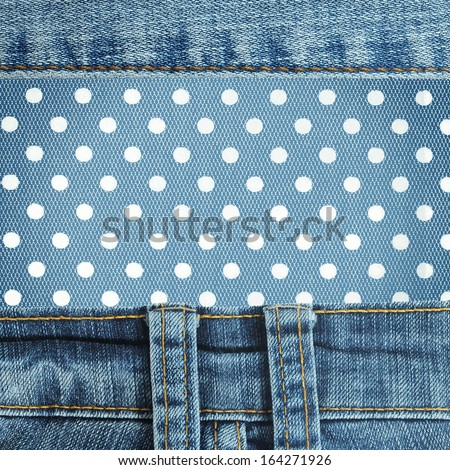 Jeans frame with dots patch  - stock photo