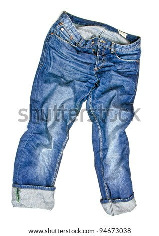 Jeans isolated on white - stock photo