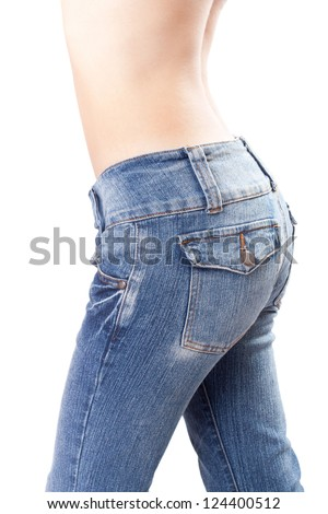 jeans on Female buttocks on a white background