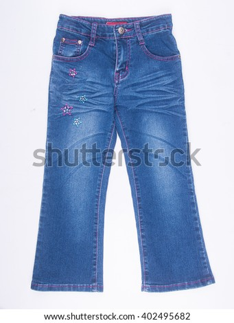 jeans or cute jeans for kids on a background - stock photo