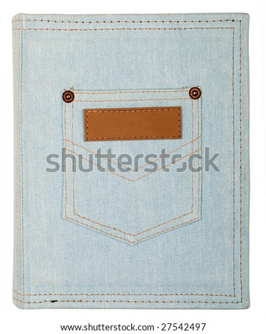 Jeans photoalbum isolated on white background - stock photo