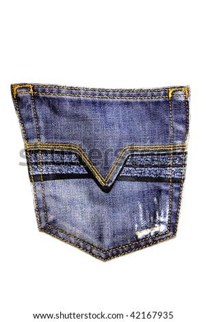 Jeans pocket on white background - stock photo