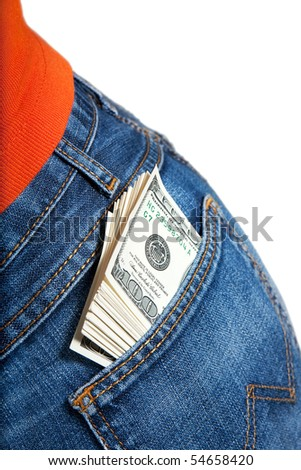 Jeans rear pocket with bundle of $100 bills - stock photo