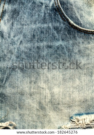 Jeans texture background. Old Jeans textile canvas background close up - stock photo