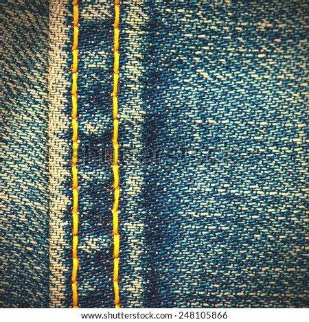 Jeans texture with seams, close up. instagram image style - stock photo