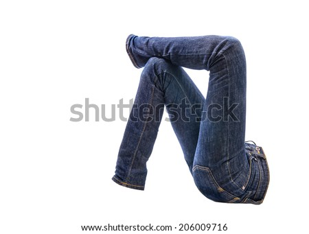 Jeans trousers on white background - stock photo