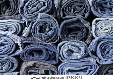 Jeans trousers stack - stock photo