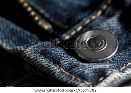 Jeans zipper and button - stock photo