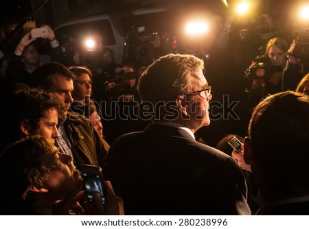 Jeb Bush speaks to reporters outside a home in Dover, NH, USA, March, 13 2015 - stock photo